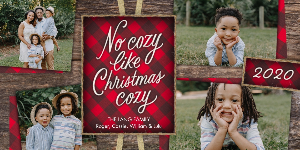 Christmas Photo Cards 4x8 Flat Card Set, 85lb, Card & Stationery -Rustic 2020 Red Plaid Christmas Collage by Hallmark