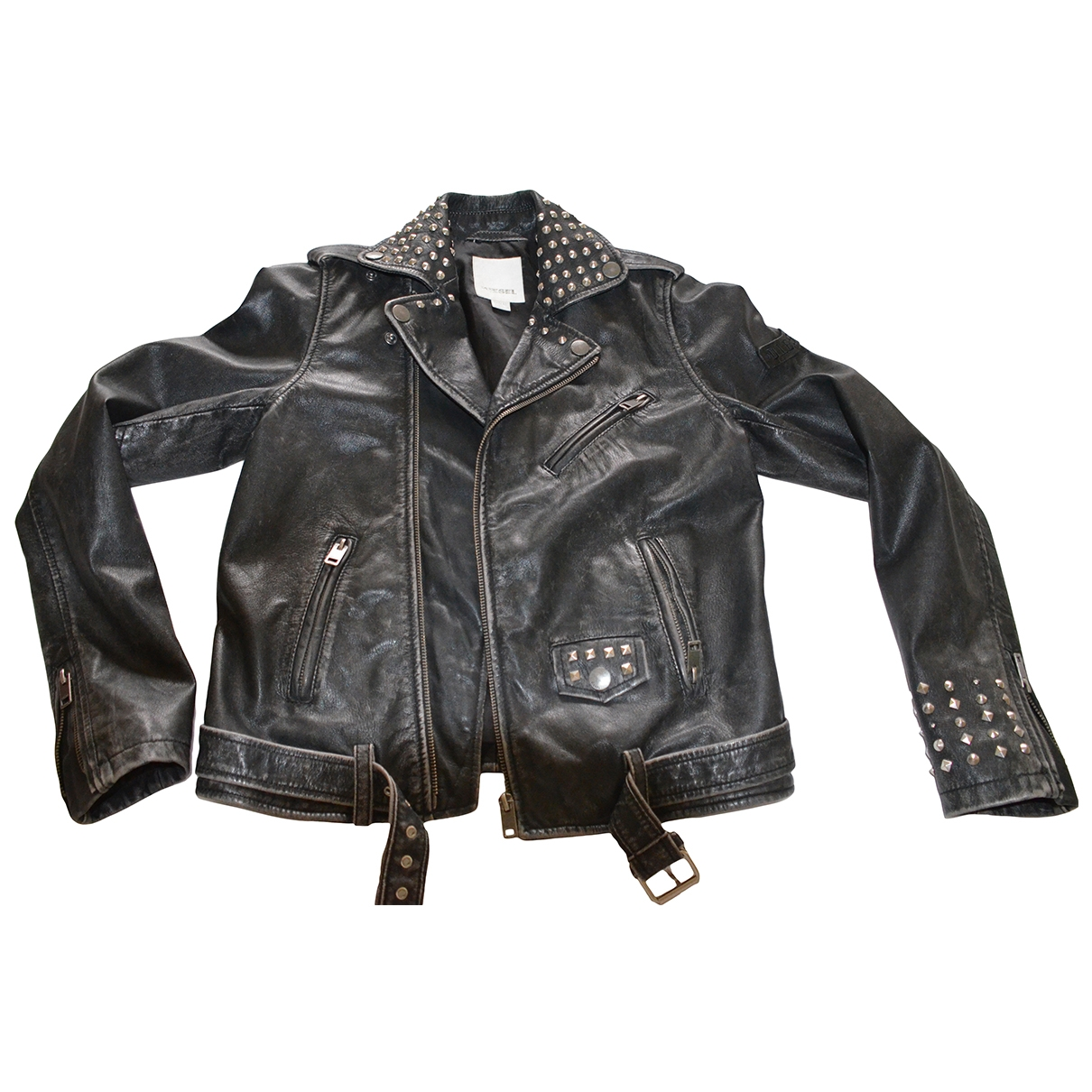 Diesel \N Anthracite Leather jacket & coat for Kids 12 years - XS FR