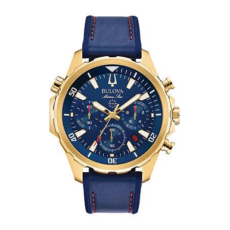 Bulova Marine Star Mens Blue Stainless Steel Bracelet Watch-97b168, One Size , No Color Family