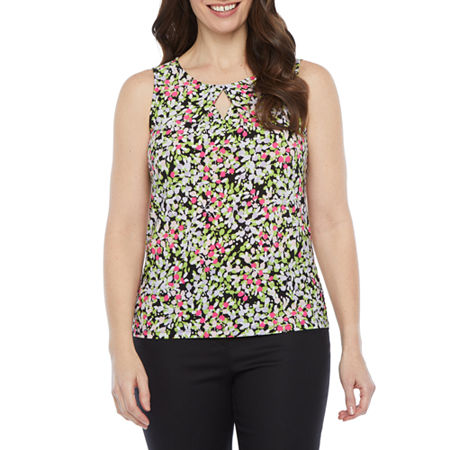 Black Label by Evan-Picone Womens Keyhole Neck Sleeveless Blouse, Large , Green