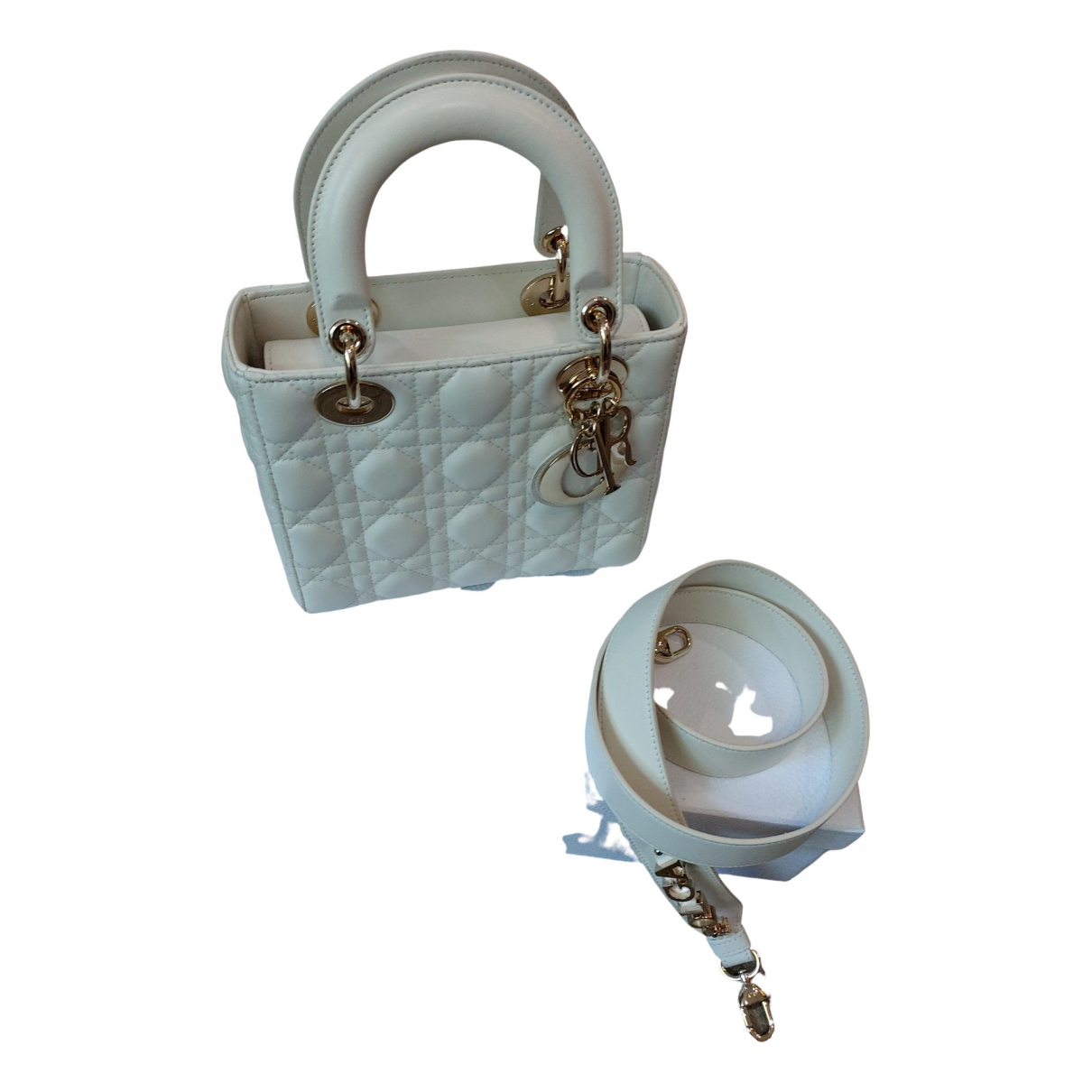 Dior Lady Dior White Leather handbag for Women \N