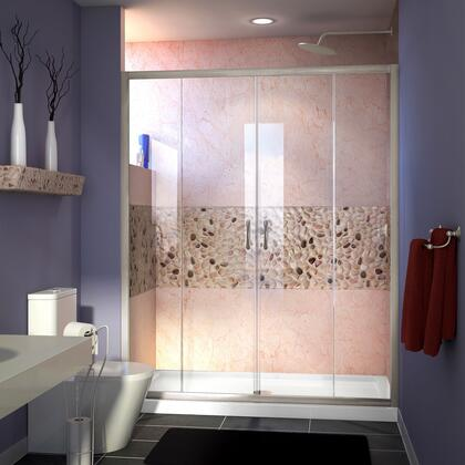 DL-6960L-22-04 Visions 30 D X 60 W Sliding Shower Door In Brushed Nickel With Left Drain Biscuit Acrylic Shower Base