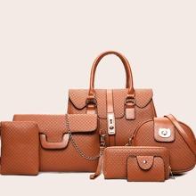 6pcs Twist Lock Satchel Bag Set