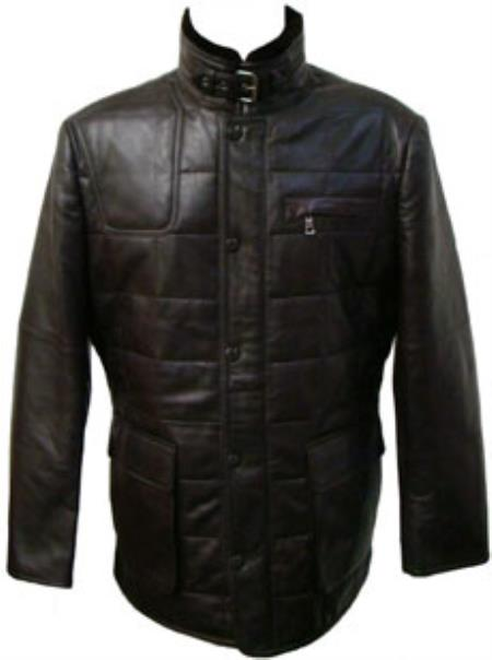 Mens Black Quilted Lamb Leather Jacket