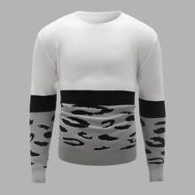 Guys Color Block Round Neck Sweater