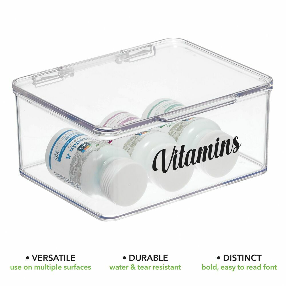 Bath Storage Bins with Labels - Pack of in Light Pink/Clear, 5.6