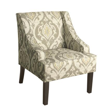BM194000 Fabric Upholstered Wooden Accent Chair with Damask Pattern Design