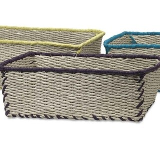 Saltoro Sherpi Woven Rope Storage Baskets With Vivid Color Finish Trimmed Details, Multicolor, Set Of Three - M (M)