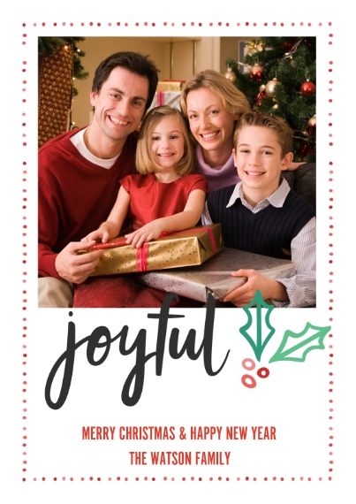 Fun & Festive 5x7 Cards, Premium Cardstock 120lb with Rounded Corners, Card & Stationery -Joyful Holly