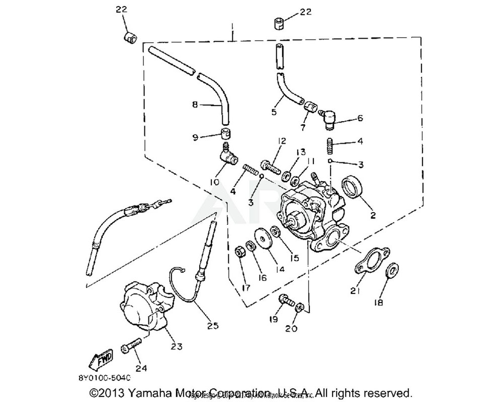 Yamaha OEM 8L8-26320-04-00 PUMP CABLE ASSY