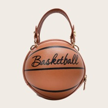 Letter Graphic Basketball Shaped Satchel Bag