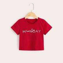 Kleinkind Maedchen T-Shirt mit Buchstaben Muster