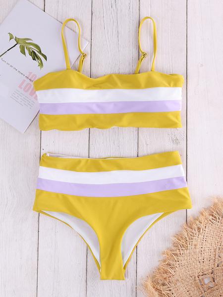 Yoins Yellow Stripe Backless High-waisted Bateau Bikini Set