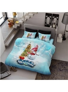 Snowman and Christmas Tree Wear-resistant Breathable High Quality 60s Cotton 4-Piece 3D Bedding Sets