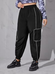 Plus Contrast Piping Zipper Detail Sports Pants