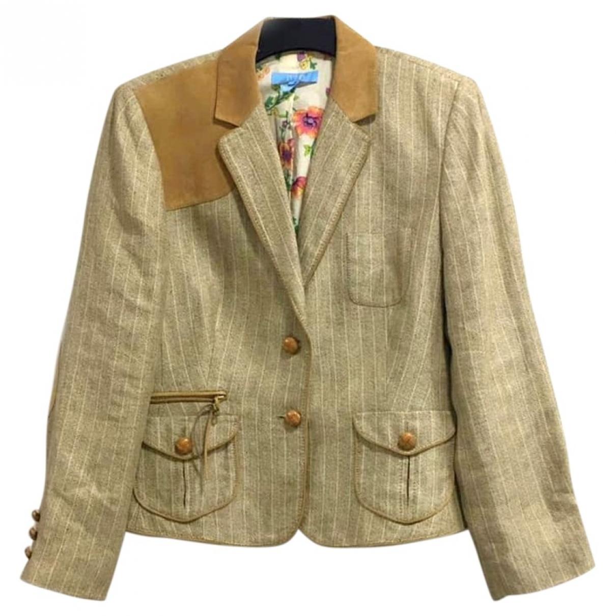 Non Signé / Unsigned \N Beige Linen jacket for Women XXL International