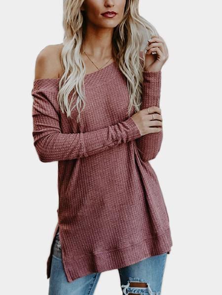 Yoins Rust Off Shoulder Long Sleeves Knitted Top