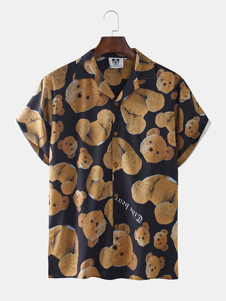 Mens Funny Teddy Bear Print Short Sleeve Shirts