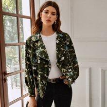 Butterfly & Camo Pattern Moto Jacket