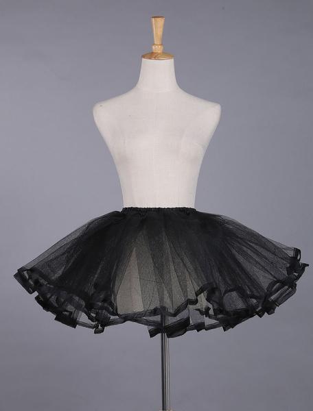 Milanoo Black Lolita Petticoat Lace Polyester Petticoat