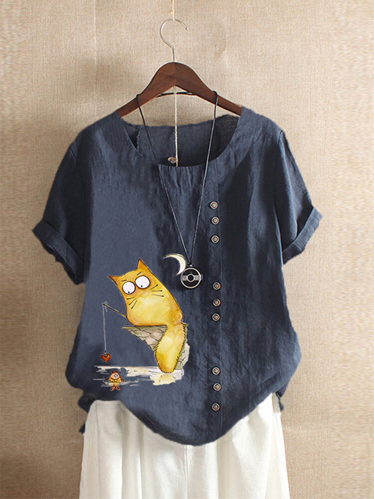 Cartoon Cute Print Button Plus Size T-shirt