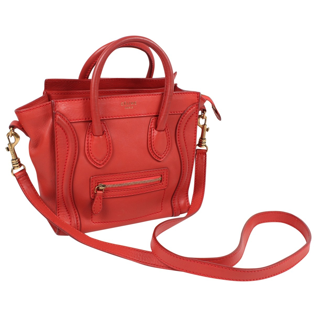 Celine Nano Luggage Red Leather handbag for Women \N