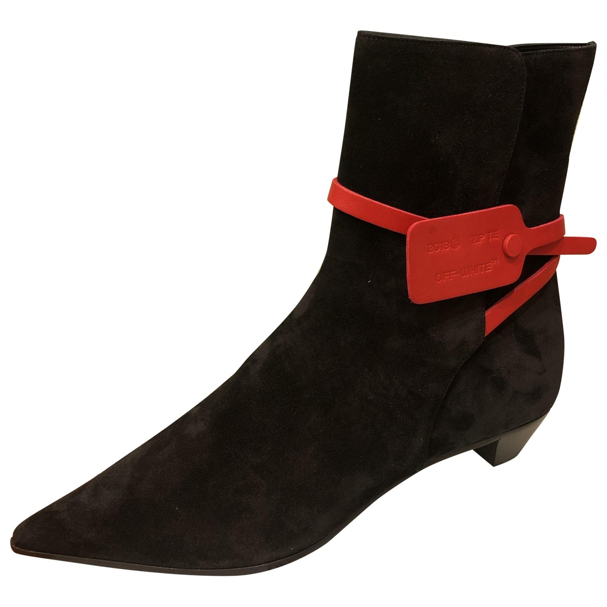 Off-white \N Black Leather Ankle boots for Women 40 EU