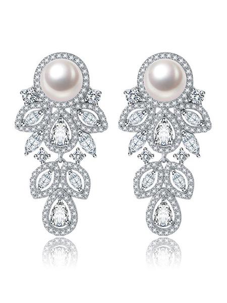 Milanoo Silver Wedding Earrings Cubic Zirconia Ear Stud Bridal Earring Jewelry