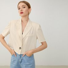 Notched Collar Single Buttoned Front Blouse