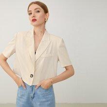 Bluse mit eingekerbtem Kragen und einreihiger Knopfleiste vorn
