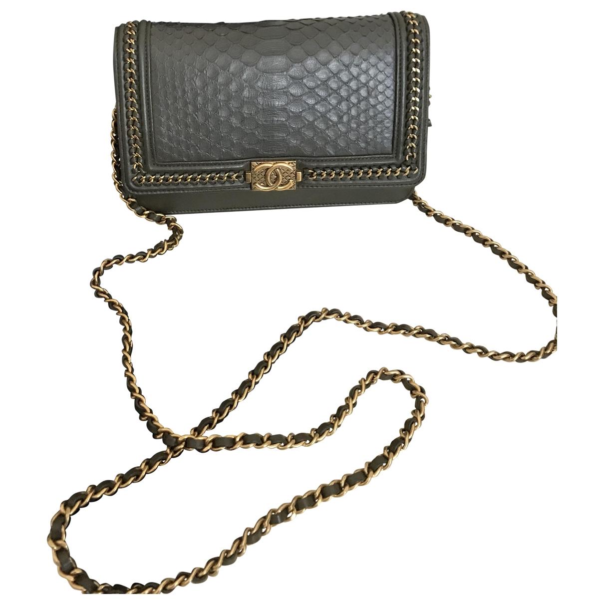 Chanel Wallet on Chain Grey Leather handbag for Women \N