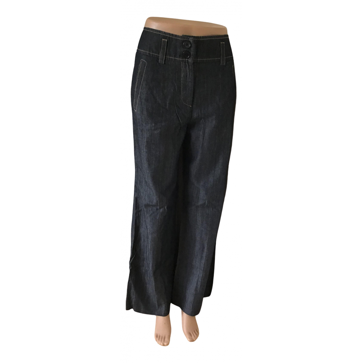 Tara Jarmon \N Navy Cotton Trousers for Women 38 FR