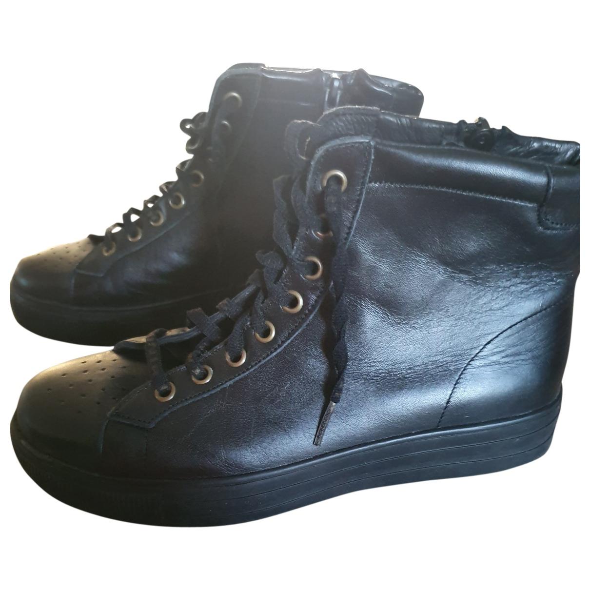 Sonia Rykiel \N Black Leather Ankle boots for Women 37 EU