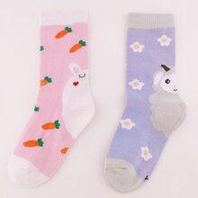 2pairs Toddler Girls Cartoon Graphic Socks