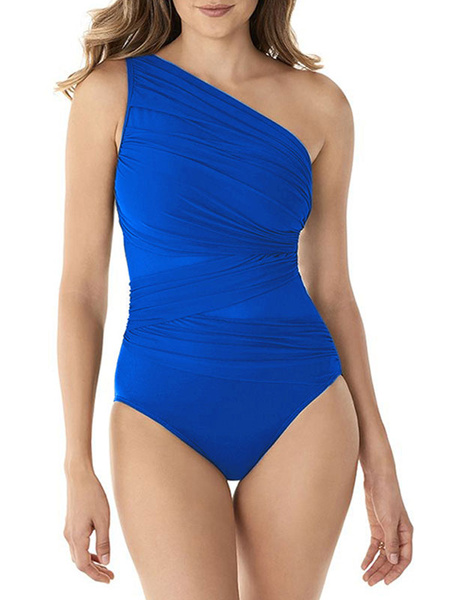 Milanoo One Piece Swimsuits For Women Green Pleated One-Shoulder Asymmetrical Summer Beach Bathing Suits