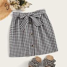 Tie Waist Button Up Gingham Skirt