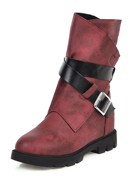 Milanoo Womens Mid Calf Boots Flat Winter Boots With Buckle