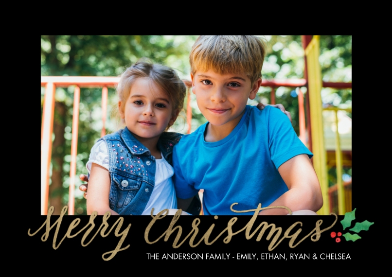 Christmas Photo Cards Flat Matte Photo Paper Cards with Envelopes, 5x7, Card & Stationery -Christmas Rustic Holly