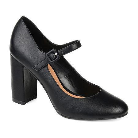 Journee Collection Womens Shayla Buckle Round Toe Block Heel Pumps, 6 1/2 Medium, Black