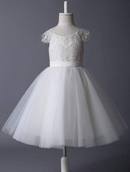Milanoo Flower Girl Dresses Ivory Lace Cap Sleeves Tutu Dress Illusion A Line Short Kids Party Dresses