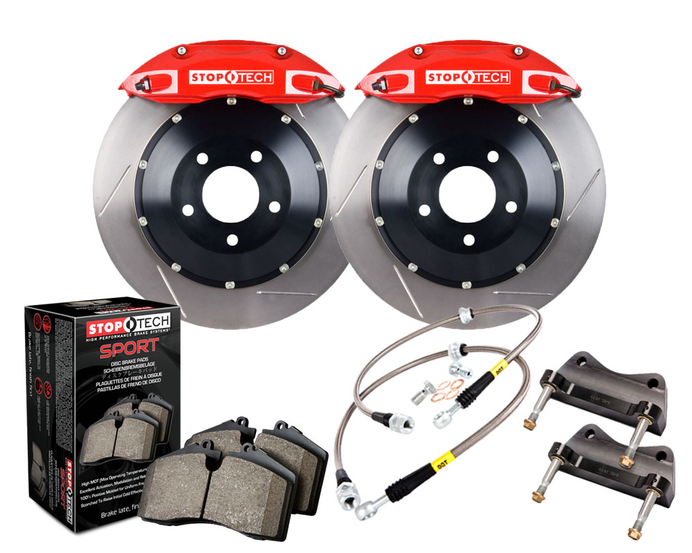 StopTech 83.148.4600.71 Big Brake Kit; Black Caliper; Slotted Two-Piece Rotor; Front BMW Front