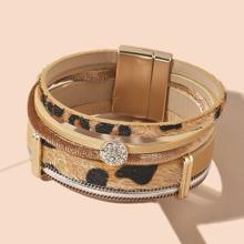 Leopard Print Rhinestone Decor Layered Bracelet