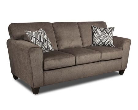 Ashton Collection 183103-1664-S-CP 86 Sofa with Tapered Feet  Reversible Seat Cushions  Track Arms  Decorative Pillows  Cornell Pewter Fabric