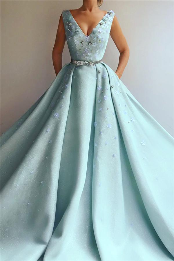 Exquisite Pailletten mit V-Ausschnitt aermelloses Abendkleid | Chic Flowers Pearls Langes Abendkleid mit Perlenstickerei