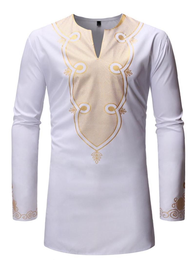 Ericdress African Fashion Dashiki Casual Color Block V-Neck Slim Mens Shirt
