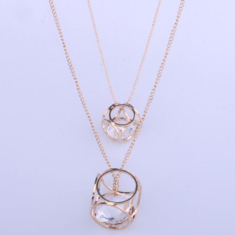 Popular Hollow Geometry Design Statement Necklace
