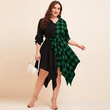 Kleid mit Karo Muster, Farbblock und asymmetrischem Saum