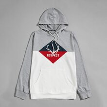 Men Letter and Graphic Embroidered Colorblock Hoodie