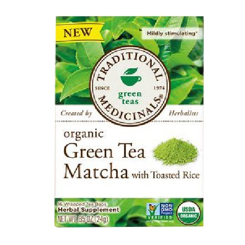 Organic Green Tea Matcha with Toasted Rice 16 Bags by Traditional Medicinals Teas