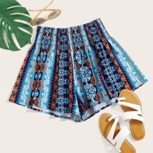 Tribal Print Shirred Waist Wide Leg Shorts